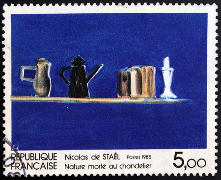 FRANCE - CIRCA 1985: A stamp printed in France shows Still Life with Candlestick  by Nicolas de Staël, circa 1985