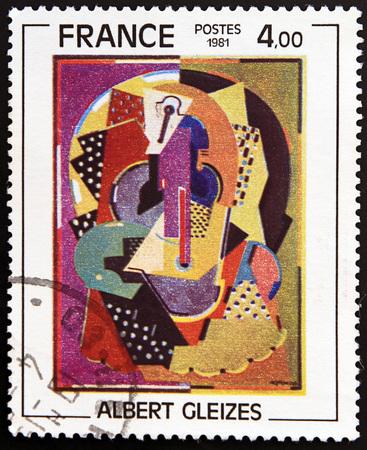 philatelist: FRANCE - CIRCA 1981: A stamp printed in France shows  «Composition 1920-23» by Albert Gleizes, circa 1981 Editorial