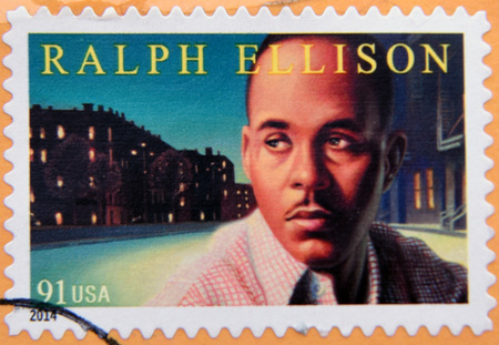 poet: UNITED STATES OF AMERICA - CIRCA 2014: A stamp printed in USA shows Ralph Waldo Ellison, american poet, circa 2014