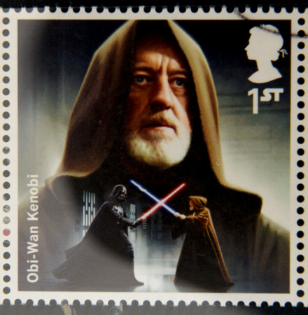 UNITED KINGDOM - CIRCA 2015: a stamp printed in Great Britain commemorative of Star Wars movie, shows Obi-Wan Kenobi, circa 2015.