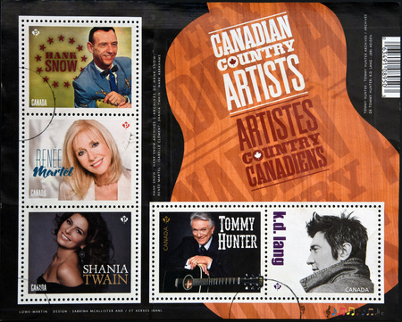 philatelist: CANADA - CIRCA 2014: Stamps printed in Canda dedicated to canadian country artist, circa 2014