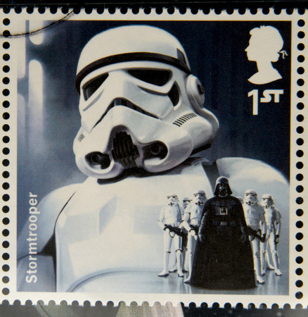 stormtrooper: UNITED KINGDOM - CIRCA 2015: a stamp printed in Great Britain commemorative of Star Wars movie, shows Stormtrooper, circa 2015.