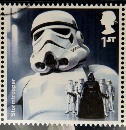 UNITED KINGDOM - CIRCA 2015: a stamp printed in Great Britain commemorative of Star Wars movie, shows Stormtrooper, circa 2015.