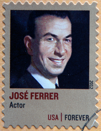 producer: UNITED STATES OF AMERICA - CIRCA 2012: A stamp printed in USA shows painting of Jose Ferrer (1912-1992) Puerto Rican actor, director, writer, musician, producer; circa 2012 Editorial