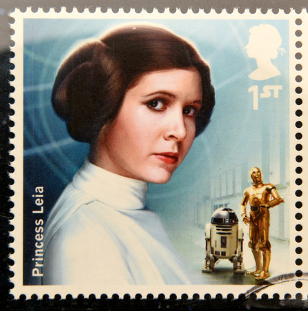 UNITED KINGDOM - CIRCA 2015: a stamp printed in Great Britain commemorative of Star Wars movie, shows Princess Leia character, circa 2015.