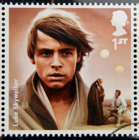 UNITED KINGDOM - CIRCA 2015: a stamp printed in Great Britain commemorative of Star Wars movie, shows Luke Skywalker character, circa 2015. Editöryel