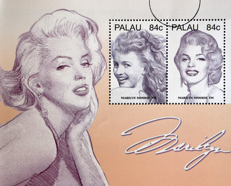 vintage postcard: PALAU - CIRCA 2006: Stamps printed in Palau shows Marilyn Monroe, circa 2006