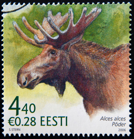 stempeln: ESTONIA - CIRCA 2006: A stamp printed in Estonia shows Alces alces, circa 2006 Editorial