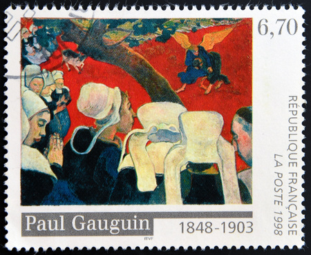 philatelist: FRANCE - CIRCA 1998: A stamp printed in France shows the work Vision after the Sermon by Paul Gauguin, circa 1998 Editorial
