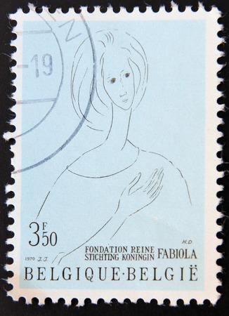 foundation problems: BELGIUM - CIRCA 1970: Stamp printed in Belgium shows Queen Fabiola, Queen Fabiola Foundation for Mental Health, circa 1970