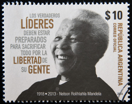 mandela: ARGENTINA - CIRCA 1984: A stamp printed in Argentina shows Nelson Mandela, circa 1984 Editorial