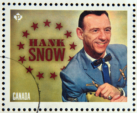 canada stamp: CANADA - CIRCA 2014: Stamp printed in Canada dedicated to canadian country artist, shows Hank Snow, circa 2014