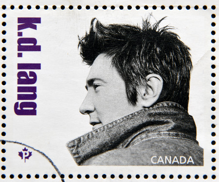 canada stamp: CANADA - CIRCA 2014: Stamp printed in Canada dedicated to canadian country artist, shows k. d. lang, circa 2014