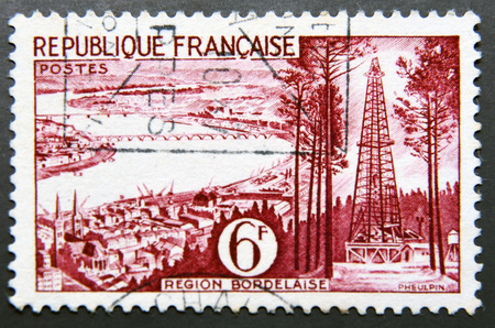 gironde department: FRANCE - CIRCA 1955: A stamp printed in France shows view of Bordeaux, Gironde Department, circa 1955
