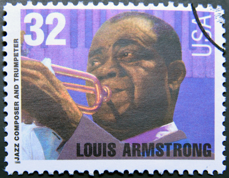 louis armstrong: UNITED STATES OF AMERICA - CIRCA 1995: A stamp printed in USA shows Louis Armstrong, jazz composer and trumpeter, circa 1995