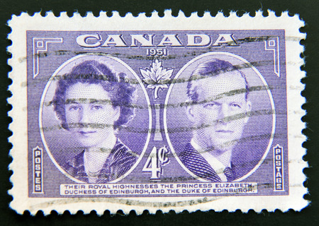 australia stamp: AUSTRALIA - CIRCA 1945: A stamp printed in Australia  dedicated to Queen Elizabeth II and the Duke of Edinburgh, circa 1945 Editorial
