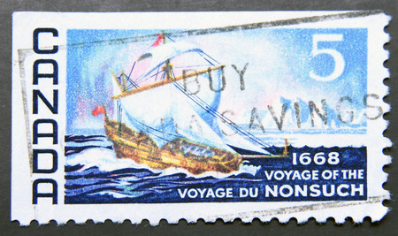 shrouds: CANADA - CIRCA 1968: stamp printed in Canada shows The Nonsuch, circa 1968 Stock Photo