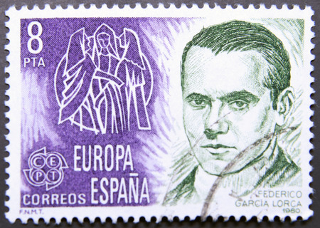 dramatist: SPAIN - CIRCA 1980: stamp printed in Spain, shows Portrait of Federico Garcia Lorca, circa 1980