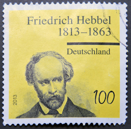 dramatist: GERMANY - CIRCA 2013:  stamp printed in Germany shows dramatist and poet Friedrich Hebbel, circa 2013 Editorial