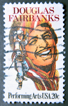 screenwriter: UNITED STATES OF AMERICA - CIRCA 1984: A stamp shows Douglas Fairbanks