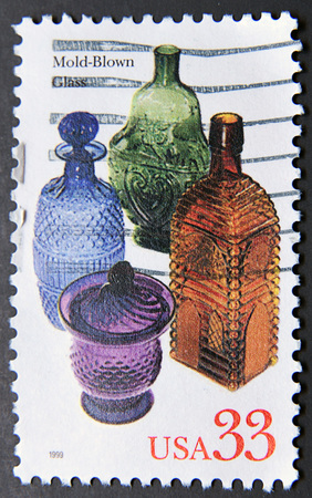 postage stamps: UNITED STATES OF AMERICA - CIRCA 1999: A stamp shows mold-blown glass