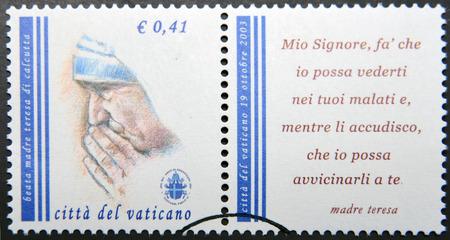 beatification: VATICAN CITY - CIRCA 2003: a stamp printed in Vatican City shows Mother Teresa, circa 2003.