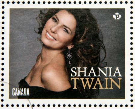 twain: CANADA - CIRCA 2014: Stamp printed in Canada dedicated to canadian country artist, shows Shania Twain, circa 2014 Editorial