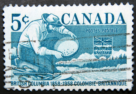 canada stamp: CANADA - CIRCA 1958: A stamp dedicated to British Columbia