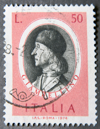 bellini: ITALY - CIRCA 1974: a postage stamp of Italy shows Giovanni Bellini, Renaissance Painter Editorial