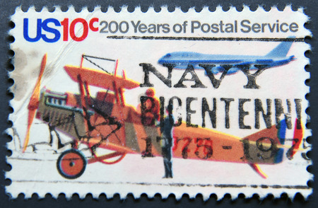united states postal service: USA - CIRCA 1975: A stamp printed in United States of America shows Postal Service Airplanes, circa 1975
