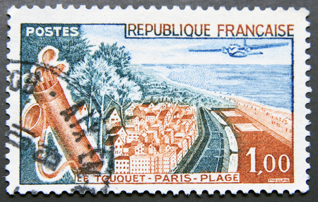 plage: FRANCE - CIRCA 1965: A stamp printed in France shows Le Touquet - Paris - Plage, circa 1965 Stock Photo