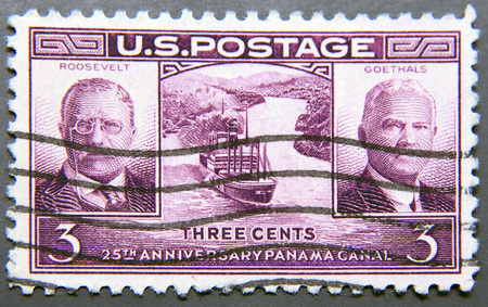 gen: UNITED STATES OF AMERICA - CIRCA 1939: A postage stamp of USA, dedicated to the 25th anniversary of the Panama Canal opening, shows Theodore Roosevelt, Gen. George W. Goethals and Gaillard Cut