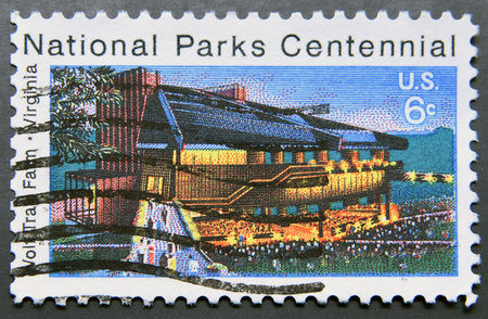 centennial: USA - CIRCA 1972: A stamp printed in United States of America shows Wolf Trap Farm, Virginia, National Park Centennial, circa 1972 Editorial