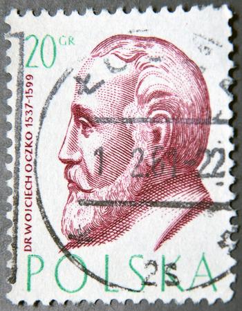 postage stamps: POLAND - CIRCA 1957: a postage stamp of Poland shows Wojciech Oczko, Philosopher and Physician Editorial