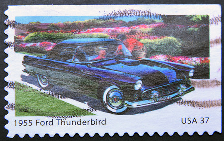 thunderbird: UNITED STATES OF AMERICA - CIRCA 2013: a stamp printed in USA showing an image of a 1955 Ford Thunderbird car, circa 2013.