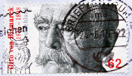 statesman: GERMANY - CIRCA 2015: A stampshows Otto von Bismarck (1815-1898), Prussian statesman