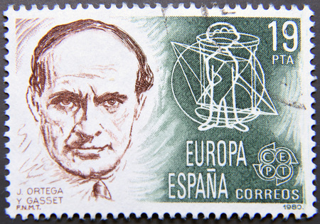 sociologist: SPAIN - CIRCA 1980: postage stamp of Spain shows Portrait of Ortega y Gasset Editorial