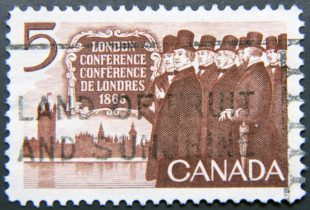 canada stamp: CANADA - CIRCA 1966: A postage stamp of Canada shows London Conference 1866