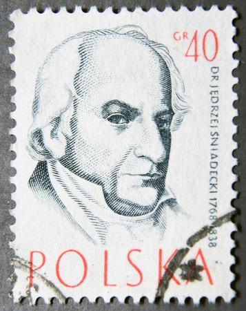 dr: POLAND - CIRCA 1957: A postage stamp of Poland shows Dr Jedrzej Sniadecki, Doctor Editorial