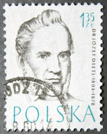 postage stamps: POLAND - CIRCA 1957: A postage stamp of Poland shows Dr Josef Dietl, Doctor