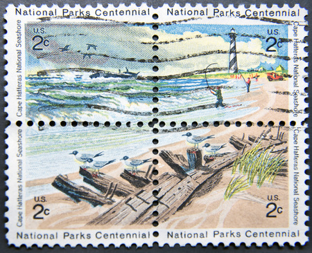 hatteras: UNITED STATES OF AMERICA - CIRCA 1972: Four postage stamps of USA shows Cape Hatteras National Seashore, National Parks Centennial issue Stock Photo