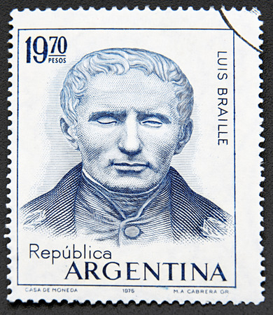 braille: GRANADA, SPAIN - NOVEMBER 30, 2015:  stamp printed in Argentina shows Louis Braille, Sesquicentennial of the Invention of the Braille System of Writing for the Blind, 1975