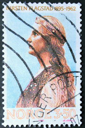 the soprano: GRANADA, SPAIN - NOVEMBER 15, 2015:   a stamp printed in the Norway shows Kirsten Malfrid Flagstad, Norwegian Opera Singer and a Highly Regarded Wagnerian Soprano, 1995