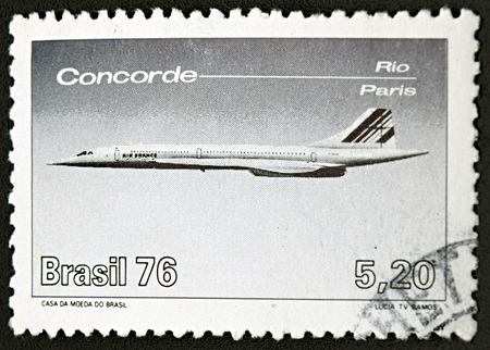 concorde: GRANADA, SPAIN - NOVEMBER 30, 2015: stamp printed in Brazil shows aircraft, Concorde, 1976