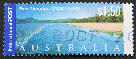 port douglas: GRANADA, SPAIN - DICIEMBRE 16, 2015: A stamp printed in Australia shows Port Douglas, Queensland, 2001 Editorial