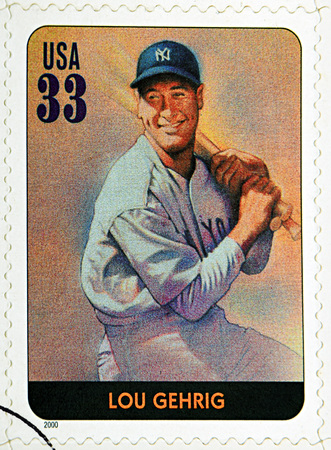homerun: GRANADA, SPAIN - DECEMBER 1, 2015: A stamp printed in USA dedicated to Legends of Baseball shows Lou Gehrig, 2000 Editorial