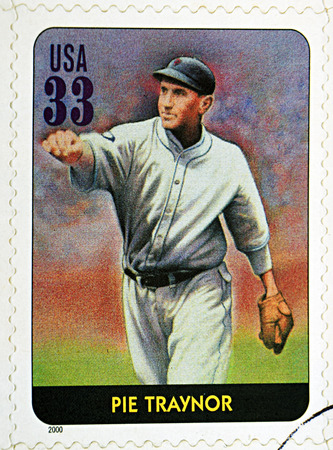 homer: GRANADA, SPAIN - DECEMBER 1, 2015: A stamp printed in USA dedicated to Legends of Baseball shows Pie Traynor, 2000