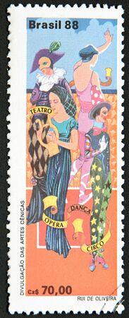 performing arts: GRANADA, SPAIN - NOVEMBER 30, 2015:  stamp printed in Brazil shows Performing Arts, 1988