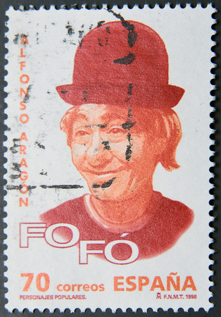 SPAIN - CIRCA 1998: A postage stamp of Spain shows image of Alfonso Aragon, Fofo, famous Spanish clown Editorial