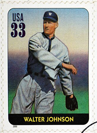 senators: GRANADA, SPAIN - DECEMBER 1, 2015: A stamp printed in USA dedicated to Legends of Baseball shows Walter Johnson, 2000 Editorial